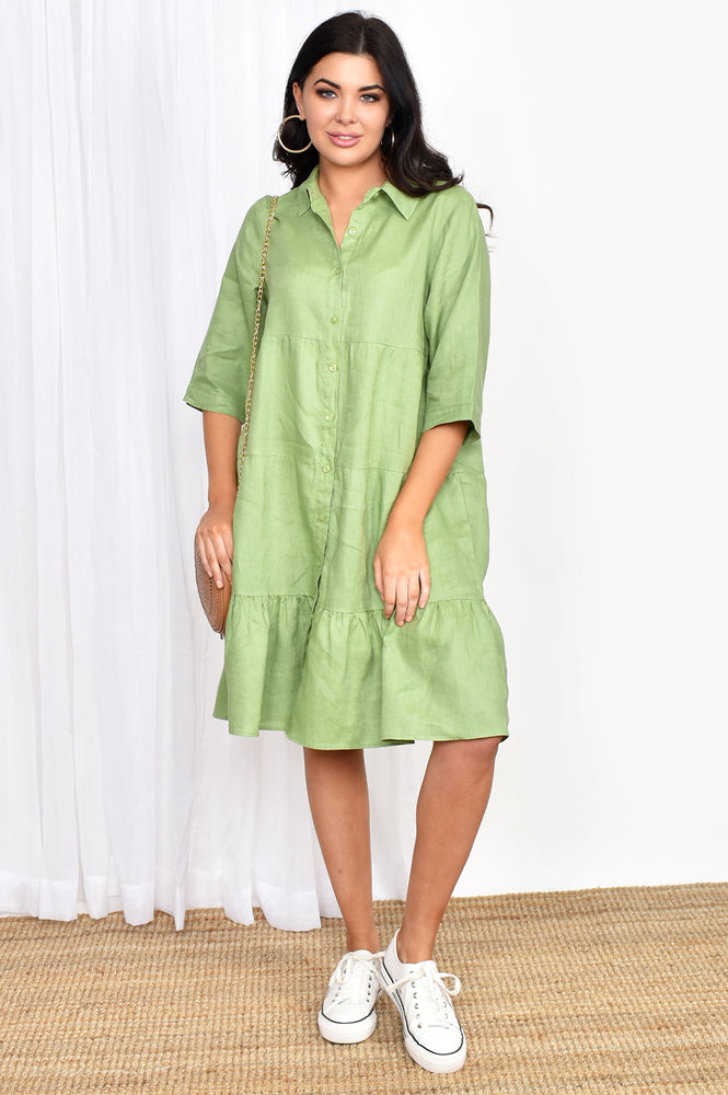 Button Through Tiered Dress (Green)