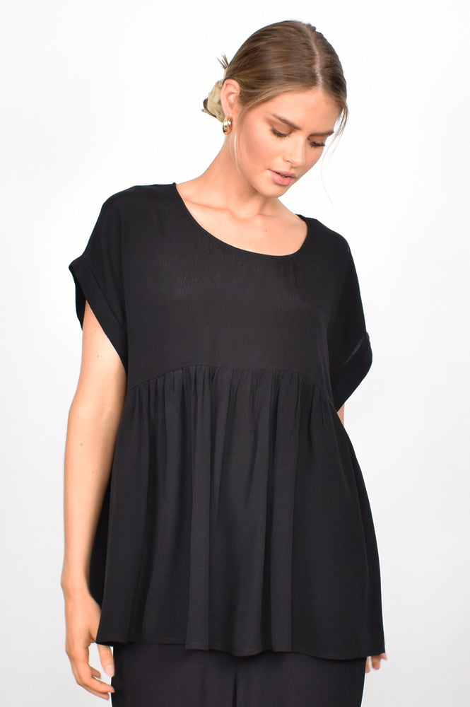 Pilar Babydoll Top (Black)