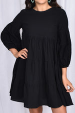 Lulu Locco Tiered Dress with Puff Sleeve (Black)