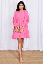 Lulu Locco Tiered Dress with Puff Sleeve (Pink)