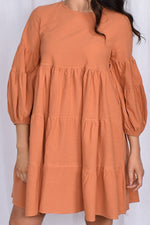 Lulu Locco Tiered Dress with Puff Sleeve (Rust)
