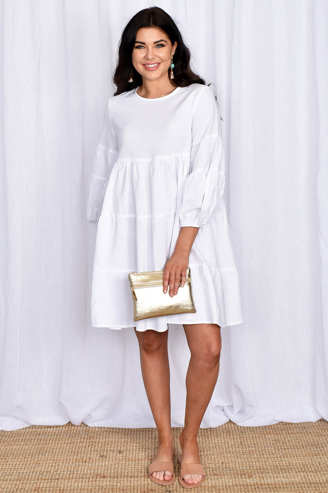 Lulu Locco Tiered Dress with Puff Sleeve (White)