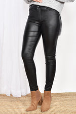Skinny Leg Wet Look Jean (Black)