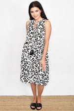 Abstract Animal Tie Detail Dress (White/Black)