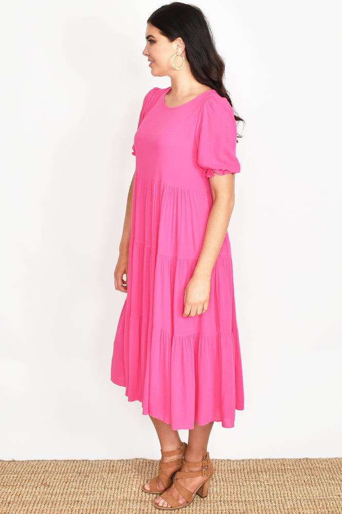 Tiered Midi Ebby Dress (Hot Pink)