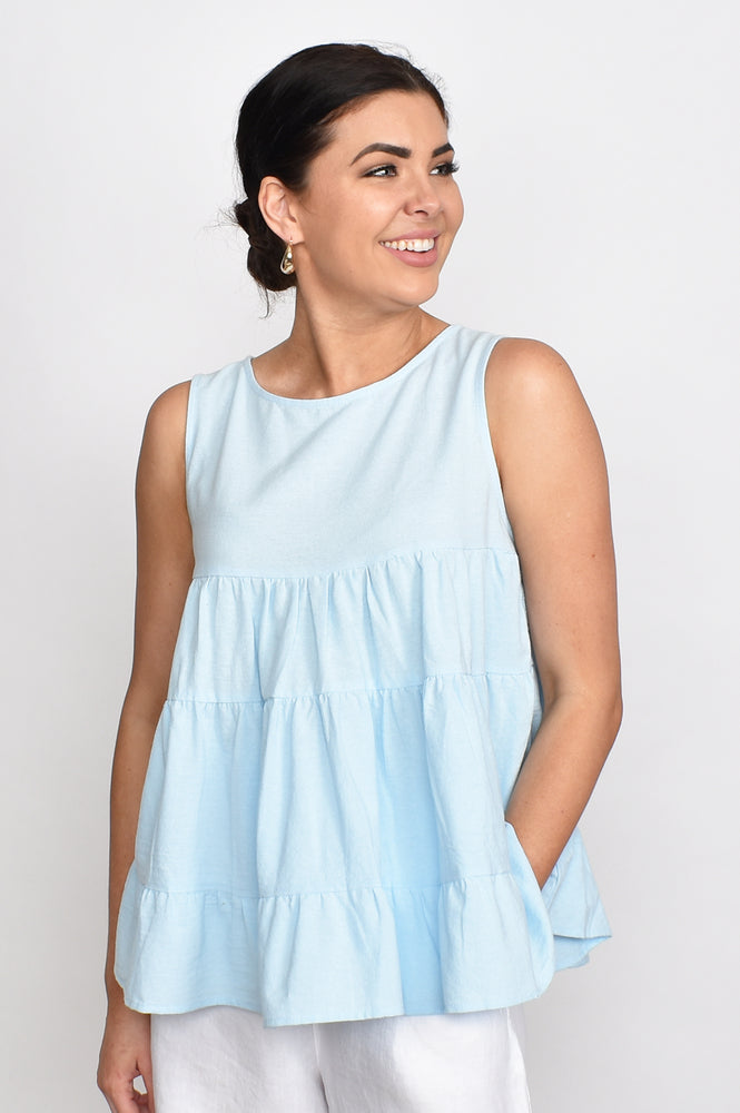 Lulu Tiered Top (Sky Blue)