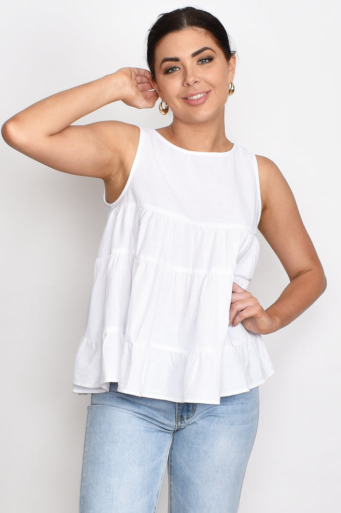 Lulu Tiered Top (White)