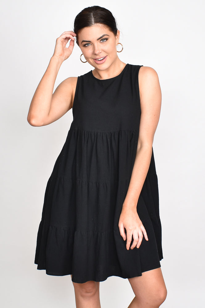 Lulu Tiered Sleeveless Dress (Black)