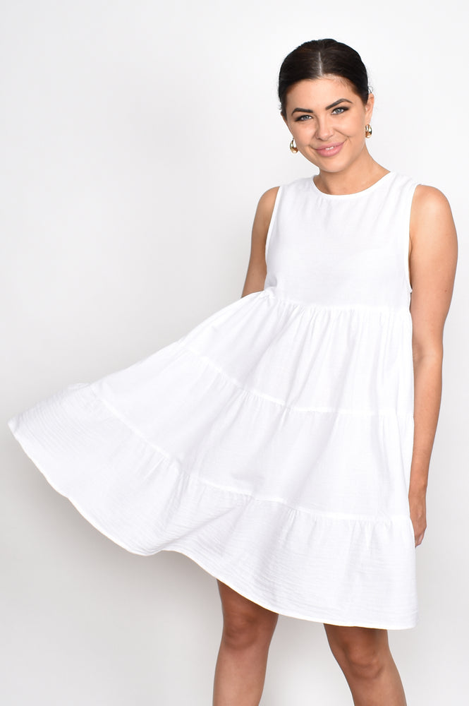 Lulu Tiered Sleeveless Dress (White)