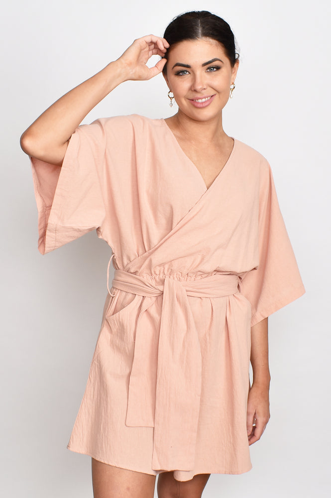 Grecian Wrap Tie Dress (Blush)