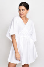 Grecian Wrap Tie Dress (White)