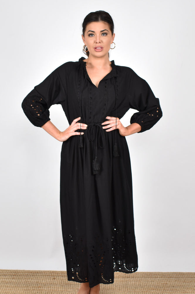 The Passion Broderie Dress (Black)