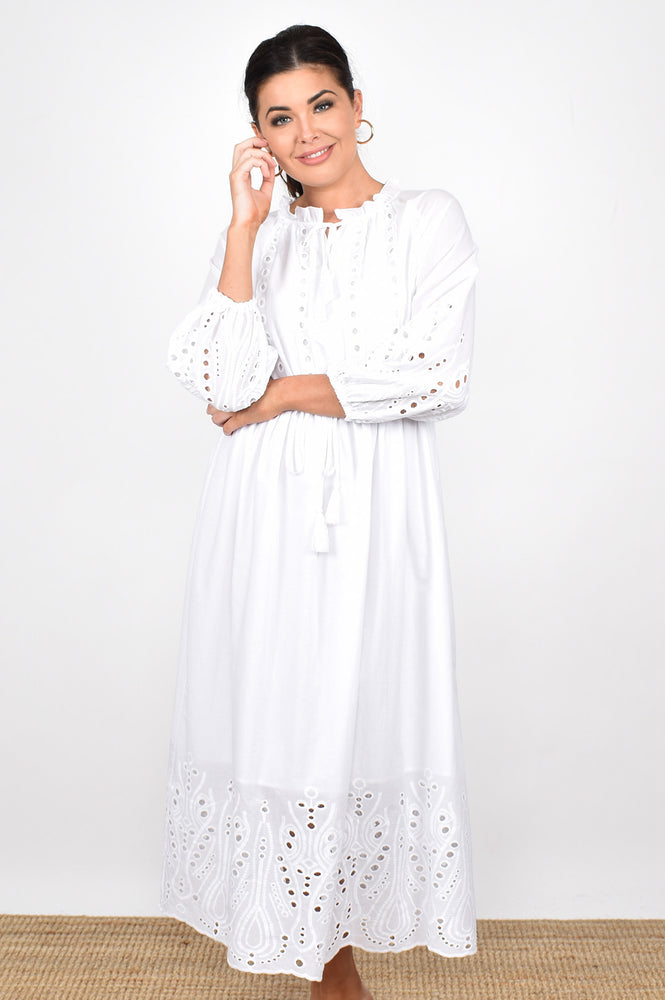 The Passion Broderie Dress (White)
