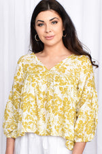 Elise Floral V Neck Top (Mustard/White)