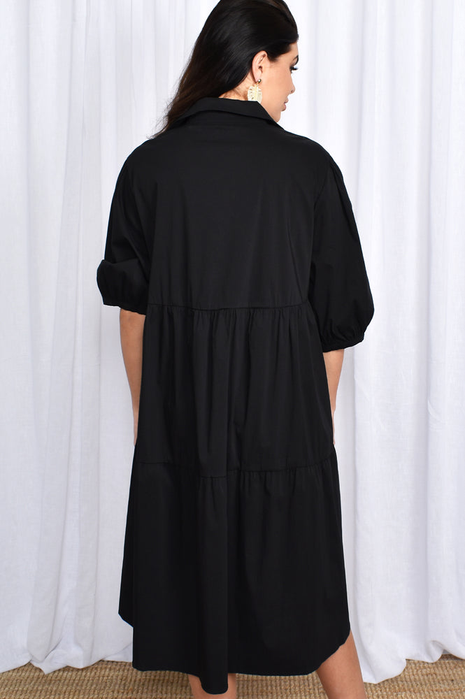 Collared Tiered Poplin Dress (Black)
