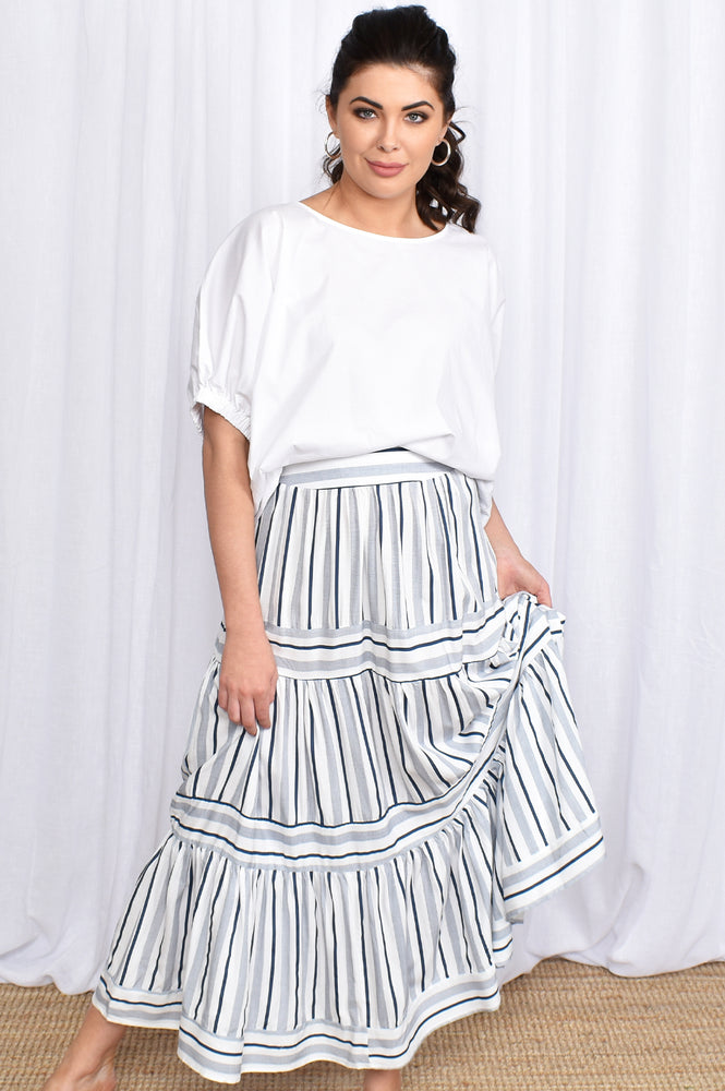 Stripe Life Maxi Skirt (Stripe Blue)