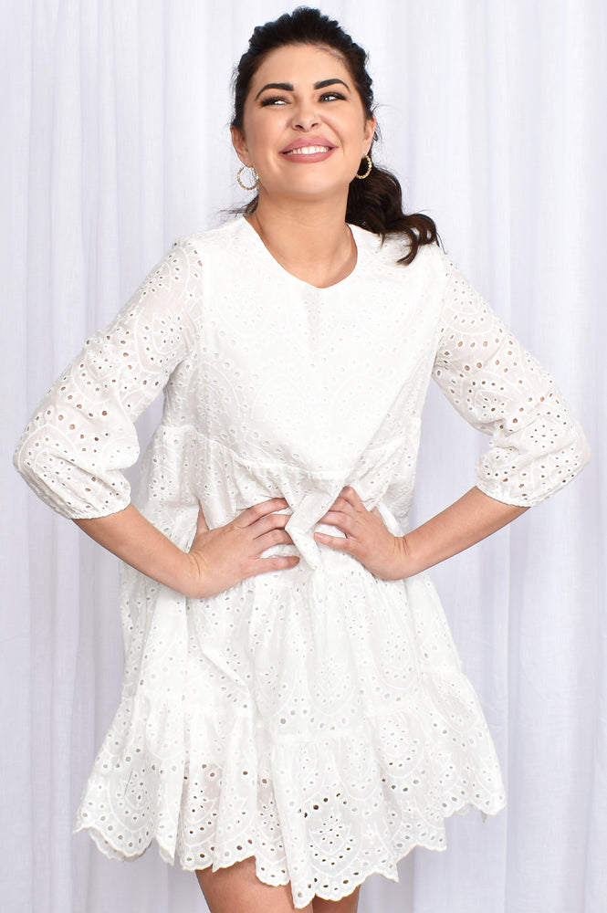 Tiered Broderie Dress (White)