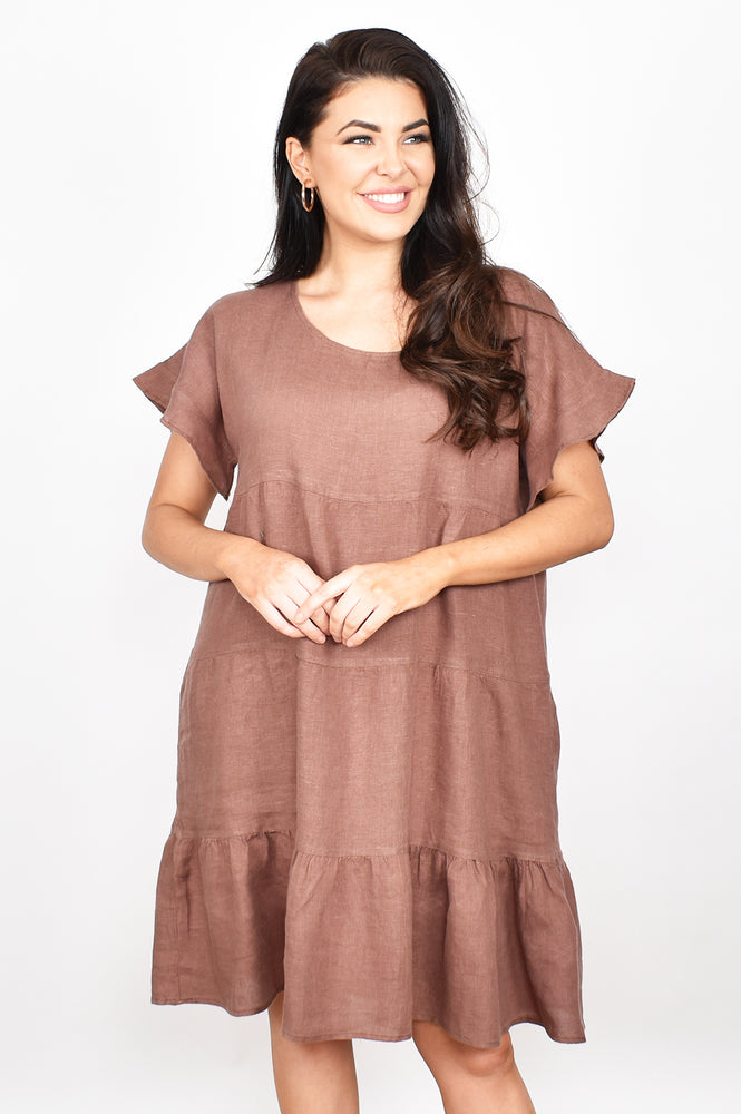 Tiered Linen Ruffle Sleeve Dress (Choc)