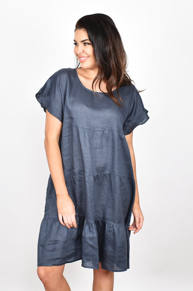 Tiered Linen Ruffle Sleeve Dress (Navy)
