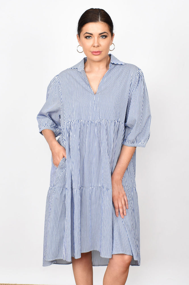Tiered Stripe Collared Dress (Blue)