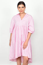 Tiered Poplin Stripe Collared Dress (Pink)