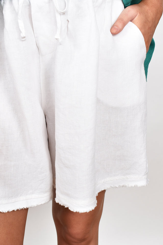 Frayed Edge Linen Short (White)