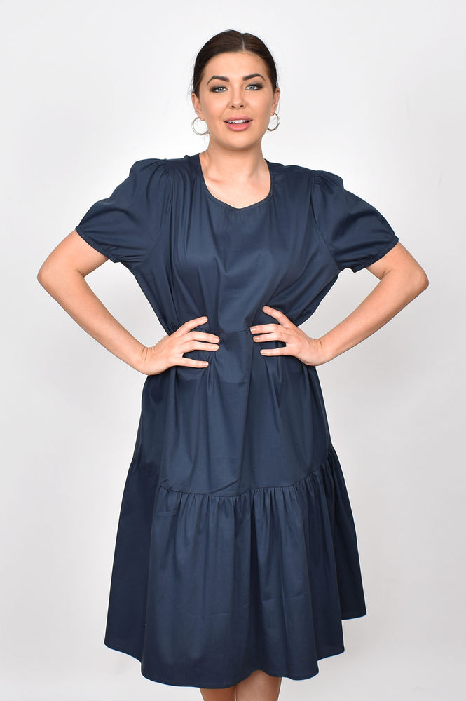 Poplin Tiered Dress (Navy)