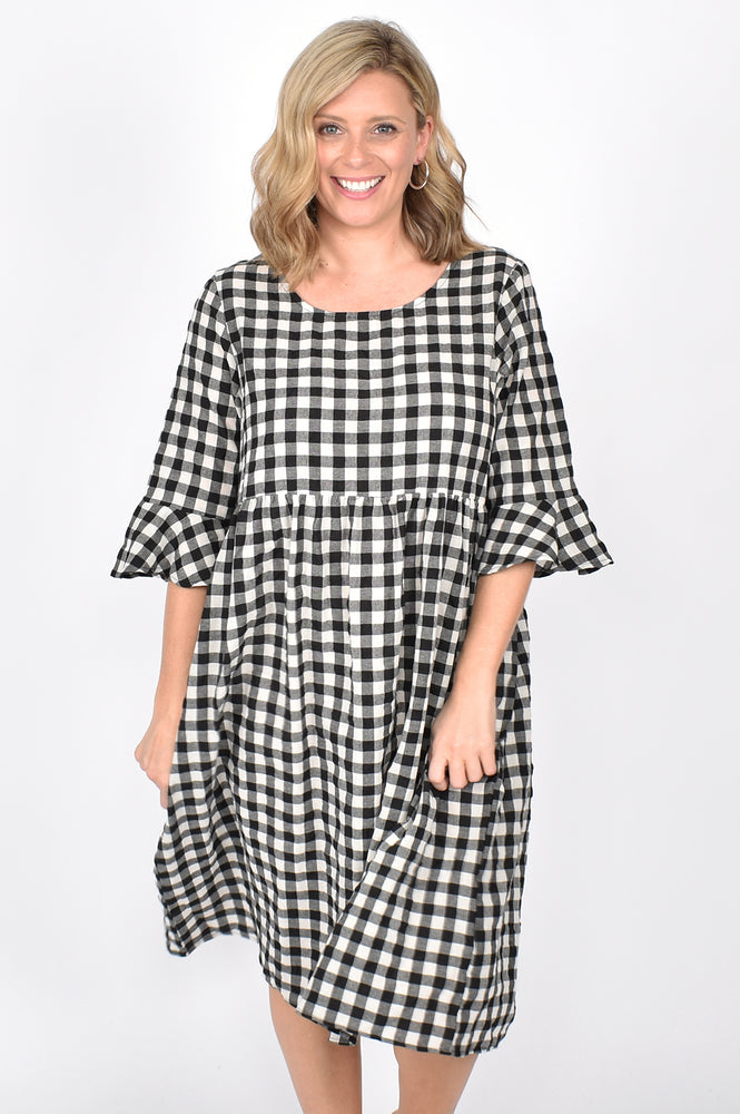 Ruffle Sleeve Check Dress (Black)