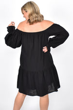 Rouched Detail Off Shoulder Dress (Black)
