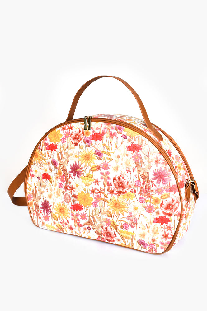 70s Floral Trim Curved Overnighter (Tan/Multi)