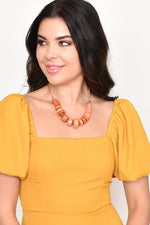 Crafty Mix Adjustable Back Necklace (Peach/Tan)