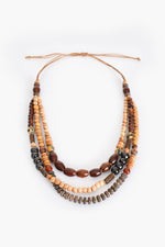 Multi Bead Mix Adjustable Necklace (Chocolate/Natural)