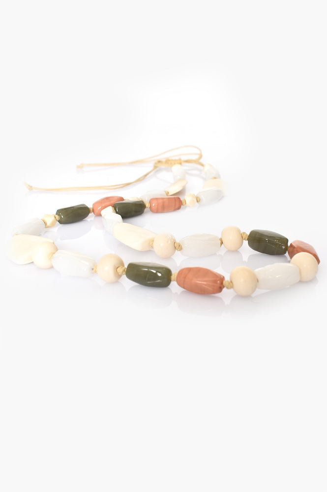 Hand Knotted Long Bead Mix Necklace (Natural/Chocolate)