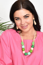 Timber Resin Adjustable Tie Back Necklace (Red/Pink)
