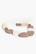 Resin Timber Mix Shapes Necklace (Mocha/Cream)