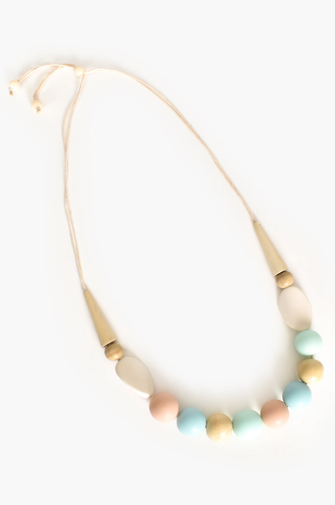 Resin Timber Mix Shapes Adjustable Necklace (Multi)