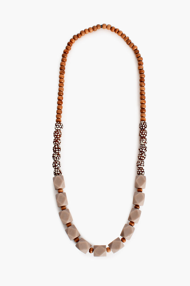 Resin Timber Mix Long Necklace (Mocha/Choc)