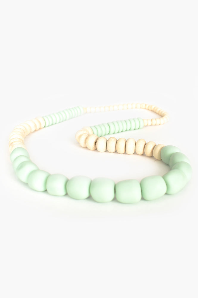 Long Resin Timber Panels Necklace (Mint/Natural)