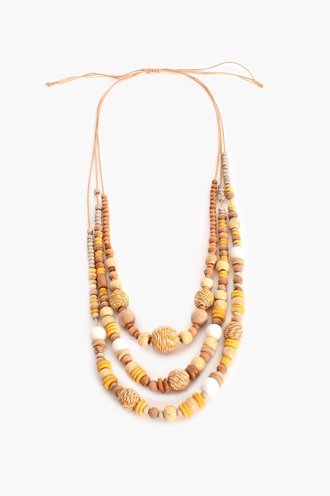 Layered Timber Weave Ball Necklace (Natural)