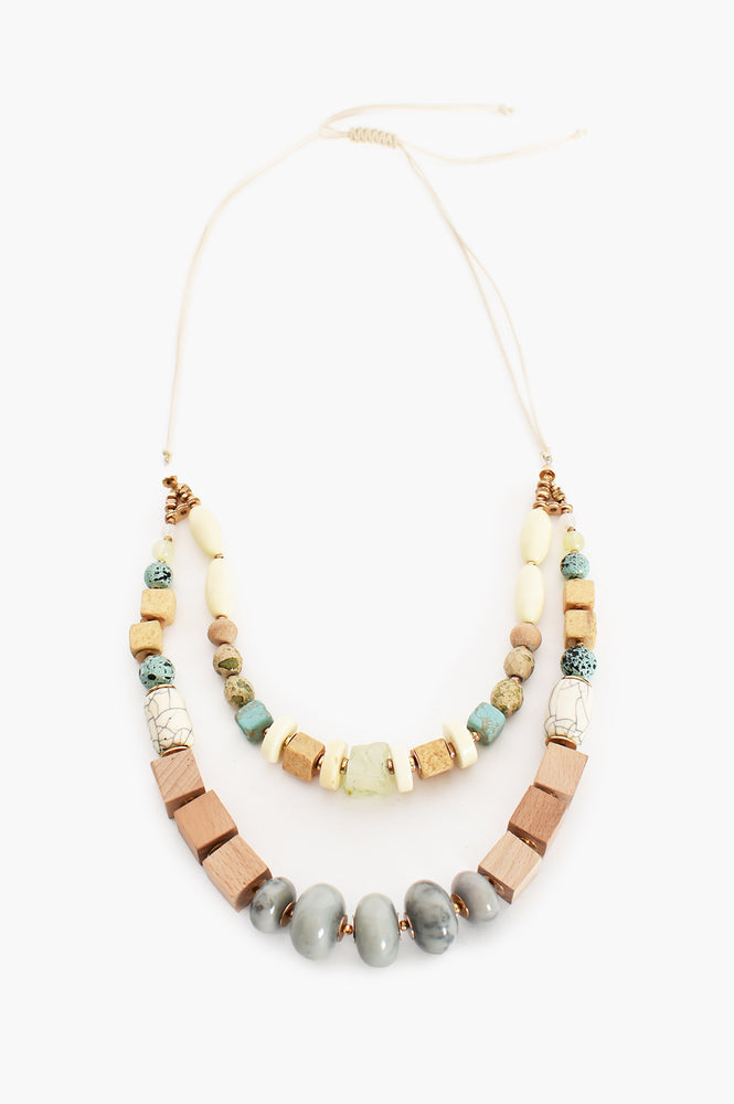 Mixed Timber Stone Layered Necklace (Turquoise)