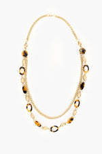 Duo Resin Metal Long Necklace (Tortoise/Gold)