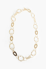 Beaten Rings Long Links Necklace (Gold)