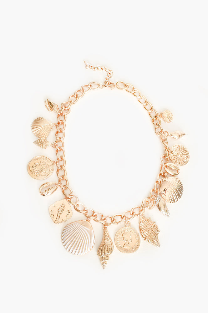 Positano Shell Charms Short Necklace (Gold)