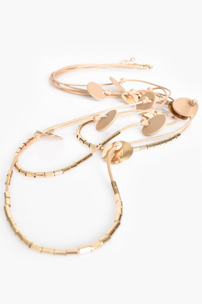 Light Leather Metal Disc Layers Necklace (Nude/Gold)