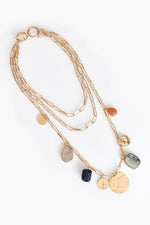 Layered Chain & Stone Necklace (Gold/Multi)