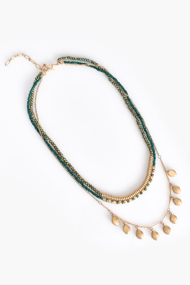 Multi Layered Bead Necklace (Green/Gold)