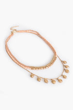 Multi Layered Bead Necklace (Peach/Gold)