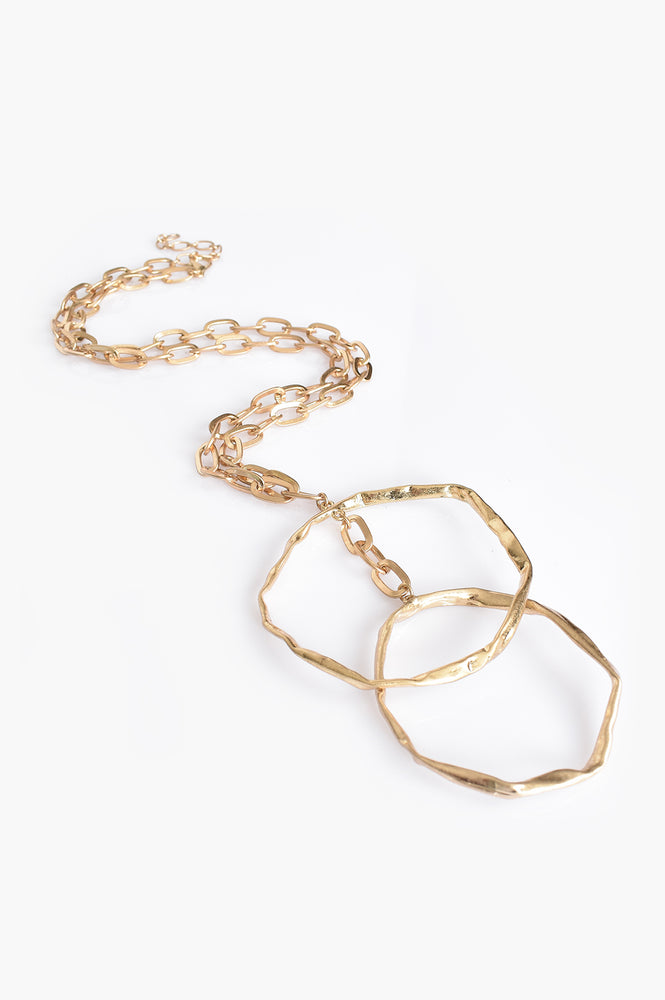 Double Ring Chain Necklace (Gold)