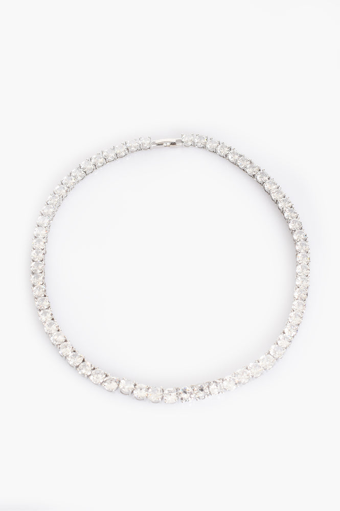 CZ Classic Tennis Necklace (Crystal/Silver)