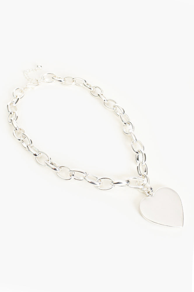 Heart Pendant Chain Necklace (Silver)